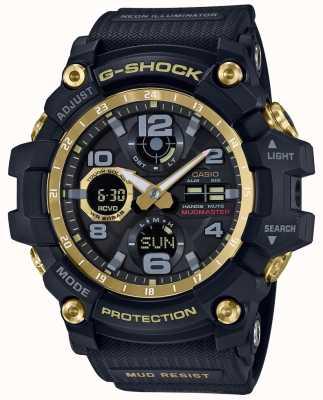 Casio Czarny, gumowy pasek z czarnym złotem kontrolowanym przez G-shock GWG-100GB-1AER