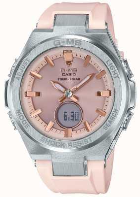 Casio G-ms baby-g wytrzymały, słoneczny, różowy gumowy pasek MSG-S200-4AER
