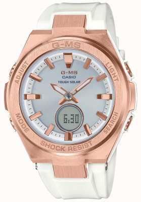 Casio G-ms baby-g z białego złota z mocnego białego paska MSG-S200G-7AER