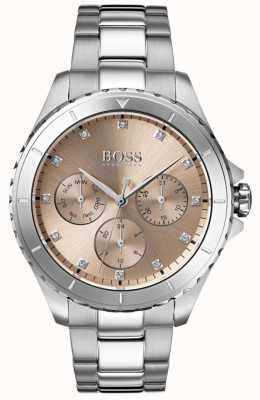 Boss Premiera damska bransoleta ze stali szlachetnej z brązową tarczą 1502444