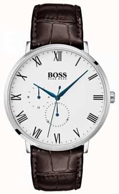 Boss Męska biała tarcza william classic brązowa skóra 1513617