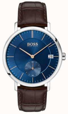 Boss Męski brązowy skórzany pasek skórzany z niebieską tarczą 1513639