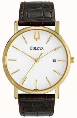 Bulova Klasyczny brązowy skórzany zegarek męski 97B100