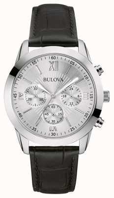 Bulova Męski zegarek z czarnej skóry z chronografem 96A162