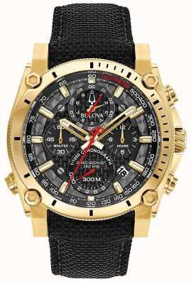 Bulova Precyzyjistyczny czarno-złoty zegarek dla mężczyzn 97B178