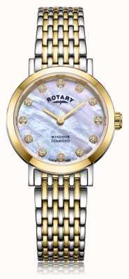Rotary Damski zegarek z dwutlenkiem wachlarza z datownikiem na dwa odcienie LB05301/41/D