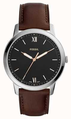 Fossil Mens the minimalist watch czarny skórzany pasek z brązowym tarczą FS5464