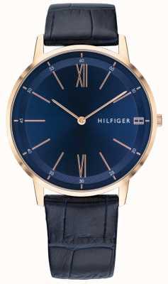 Tommy Hilfiger Męski zegarek do zegarka z niebieskim skórzanym paskiem w kolorze różowego złota 1791515
