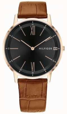 Tommy Hilfiger Męski miedziany zegarek z czarnej skóry pokrowiec ze stalową tarczą 1791516