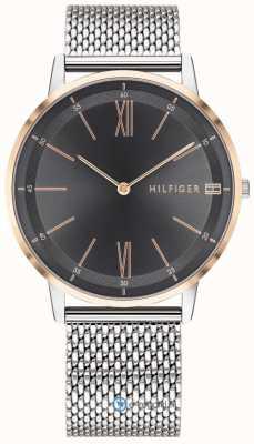 Tommy Hilfiger Męski zegarek Cooper ze stali nierdzewnej bransoletka z czarnej siatki 1791512