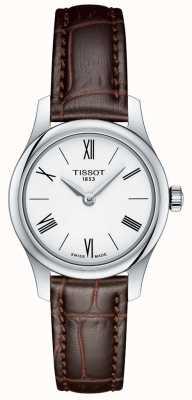 Tissot Damska tradycja 5,5 damskiego zegarka z brązowym skórzanym paskiem T0630091601800