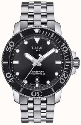 Tissot Męski zegarek seastar 1000 powermatic 80 ze stali nierdzewnej w kolorze czarnym T1204071105100