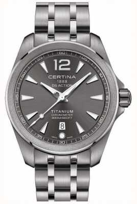 Certina Mens ds zegarek zegarek szara tarcza bransoletka tytanu C0328514408700