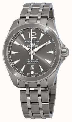Certina Męski zegarek DS Action szara tarcza tytanowa bransoletka C0328514408700