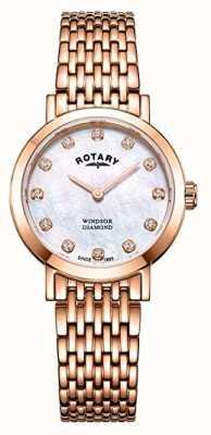 Rotary Damski zegarek z diamentem w kształcie różowego złota LB05304/41/D
