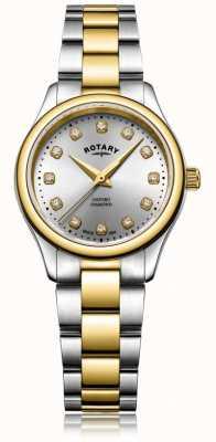 Rotary Damski zegarek damski, diamentowy dwukolorowy damski oxford LB05093/44/D