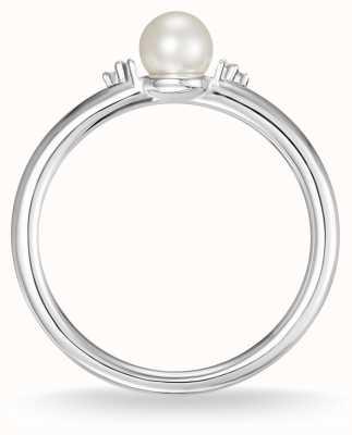Thomas Sabo Srebrna perła i biały pierścionek z brylantem rozmiar 54 D_TR0039-765-14-54