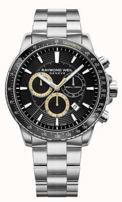 Raymond Weil Zegarek męski Tanga 300 ze stali nierdzewnej czarny chronograf 8570-ST1-20701