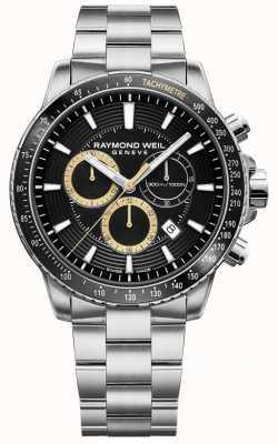 Raymond Weil Zegarek męski tango 300 bransoleta ze stali nierdzewnej czarny chronograf 8570-ST1-20701