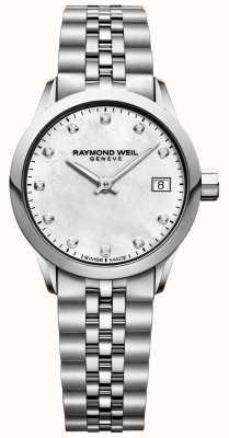 Raymond Weil Freelancer damski zegarek z tarczą diamentową dla matki z perłą 5626-ST-97081