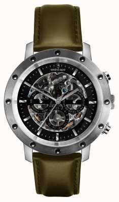 Weird Ape Icarus 3 czarny skórzany pasek w kolorze srebrnym / oliwkowym WA02-005721