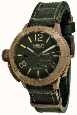 U-Boat Doppio tempo 46 bronzo gr automatyczny zielony skórzany pasek 9088