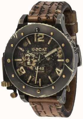 U-Boat U-42 unicum vintage look automatyczny brązowy skórzany pasek 8188
