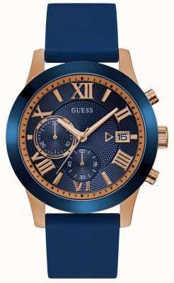 Guess Męski zegarek z różowego złota z niebieską tarczą i paskiem W1055G2