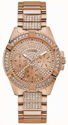 Guess Zegarek z różowego złota z różowymi kryształkami W1156L3