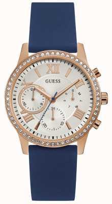 Guess Damski, różowo-złoty zegarek z niebieskim silikonowym paskiem W1135L3