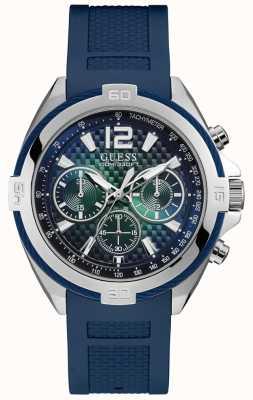 Guess Męski srebrny zegarek niebieski pasek silikonowy zielona tarcza W1168G1