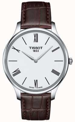 Tissot Męski zegarek z cienkiego brązowego skórzanego paska T0634091601800
