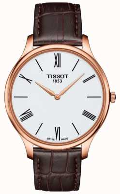 Tissot Męskie tradycje cienki brązowy skórzany pasek różany zegarek T0634093601800