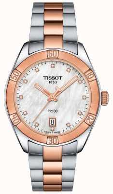 Tissot Damski zegarek sportowy pr100 dwukolorowy T1019102211600