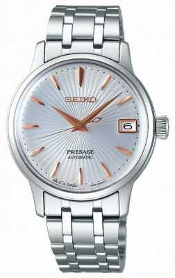 Seiko Presage damski automatyczny zegarek różowego złota i srebra SRP855J1