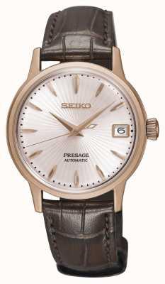 Seiko Pretensjonalny damski automatyczny zegarek ze złotobrązowym skórzanym paskiem SRP852J1