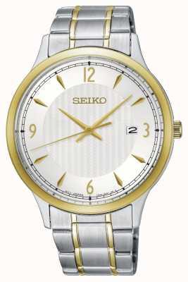 Seiko Męski klasyczny wzór biały wybiórczy zegarek dwukolorowy SGEH82P1