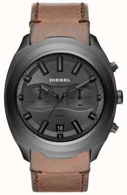 Diesel Mens tumbler szary chronograf brązowy skórzany pasek zegarka DZ4491