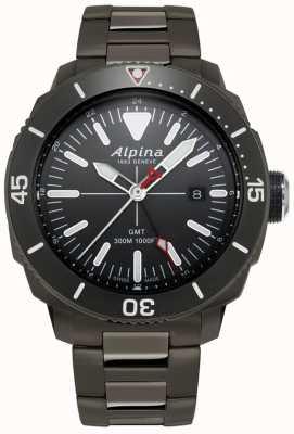 Alpina Mens seastrong diver gmt watch z czarnym tytanowym pokryciem AL-247LGG4TV6B