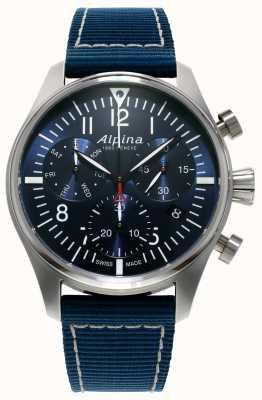 Alpina Męski zegarek startowy chronograf kwarcowy niebieski AL-371NN4S6