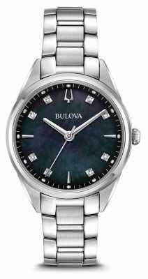 Bulova Damski klasyczny zegarek sutton czarna tarcza z masy perłowej 96P198