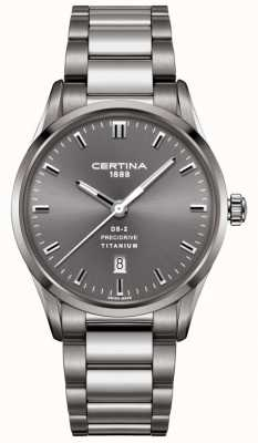 Certina Mens ds-2 precidrive szary zegarek z tytanu stali C0244104408120
