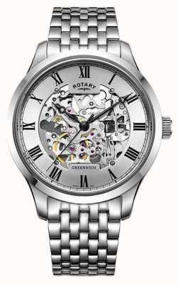 Rotary Męski zegarek ze szkieletem ze stali chirurgicznej GB02940/06
