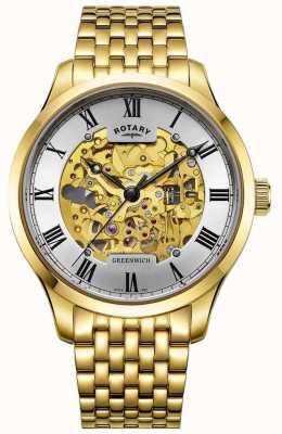 Rotary Mens Greenwich, automatyczny, pozłacany szkieletowy zegarek GB02941/03