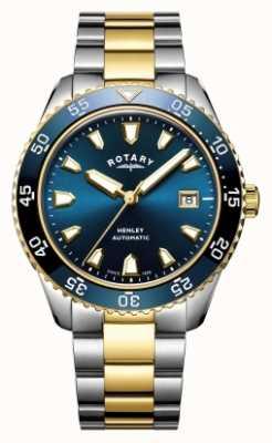 Rotary Mens henley automatyczny dwukolorowy zegarek z niebieską tarczą GB05131/05