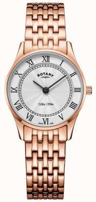 Rotary Damski ultra cienki zegarek z różowego złota LB08304/01