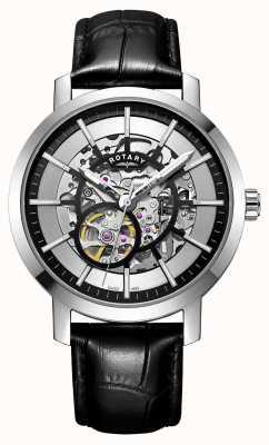 Rotary Męski zegarek skórzany z czarnym skórzanym paskiem GS05350/02