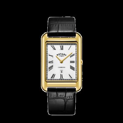 Rotary Męskie daty zegarka cambridge złoty kwadratowy czarny skórzany pasek GS05283/01