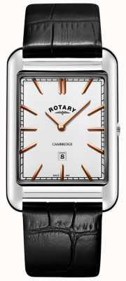 Rotary Męski czarny skórzany pasek z datownikiem w stylu cambridge GS05280/02