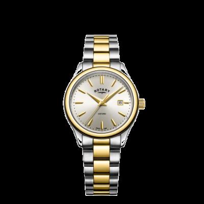 Rotary Zegarek damski oxford z dwukolorowym złotym srebrnym bransoletem LB05093/03